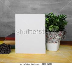 Mock up poster in a stylish interior. Blank empty canvas and decorative composition with books and a house plant.