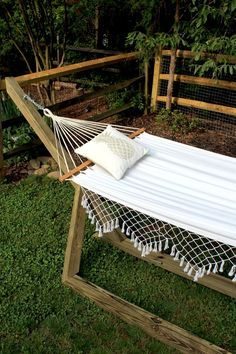 You can make your own free-standing wood hammock stand to enjoy all summer long for only $60!