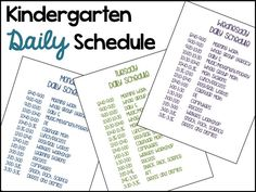 Typical Daily Schedule in Kindergarten