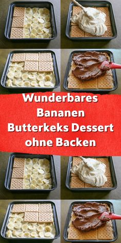 A delicious dessert without baking. Banana custard and biscuits form the ri . - A delicious dessert without baking. Banana custard and cookies form the ri … – A delicious dess - Desserts Végétaliens, Desserts Sains, Dessert Simple, Quick Dessert Recipes, Baked Banana, Recipe For 4, Chocolate Recipes, Chocolate Protein, Delicious Chocolate