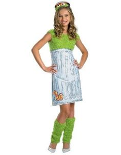 Disguise Sesame Street Oscar Teen Girl Girls Costume, X-Large/14-16