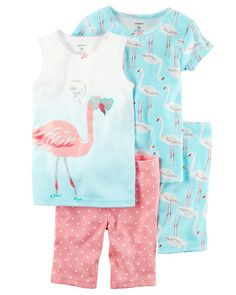 Carter's Carter's Girls 4 Pc Cotton Print, cotton sleepwear set Allover flamingo print Ombre design on tank with screen-printed flamingo graphic Ribbed necklines with tacked satin bows No-pinch elastic waistband on shorts Kids Fashion Boy, Toddler Fashion, Toddler Outfits, Baby Boy Outfits, Kids Outfits, Cotton Sleepwear, Sleepwear Sets, Cotton Pyjamas, Girls Sleepwear