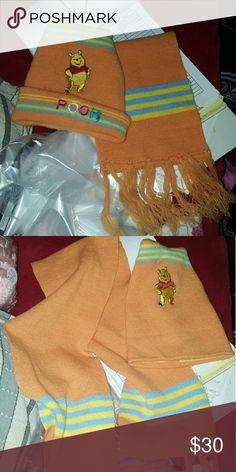 Winnie the pooh scarf and hat for kids Size small cute orange juice color blue and pooh name both bundled Gymboree Accessories Hats