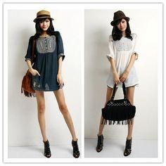 Women Summer Dress 2014,Vintage 70s mexican Ethnic Flower Embroidery Tent Mini Dress Hippie Women Tops  L Plus size Vestidos US $17.99