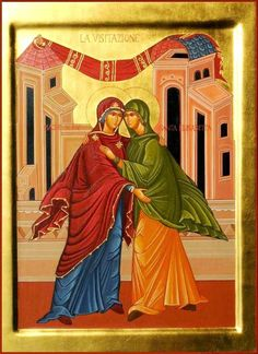 Visitation of Mary & Elizabeth Religious Images, Religious Icons, Religious Art, Byzantine Icons, Byzantine Art, Vintage Holy Cards, Russian Icons, Light Of The World, Art Icon