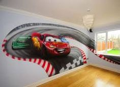 Race track wall mural boys car themed room pinterest for Disney pixar cars wall mural
