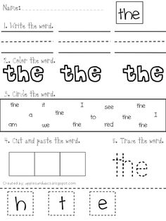 "kindergarten Sight Word ""THE"" cut and paste worksheets 