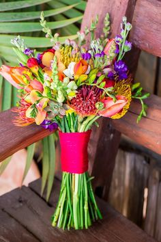 Bright & Bold Wedding Bouquet|Colorful Mexican Fiesta Inspired Wedding|Photographer:  Anna Marisol Photography