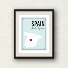 Spain Map  Europe Art  Print  Madrid Poster by PaperFinchDesign, $20.00