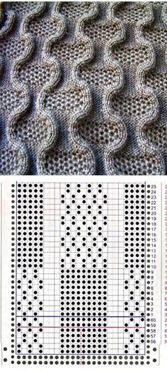 Несколько схем для вязания узора «Змейка»