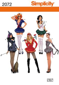Diy Sewing Pattern-Simplicity 2072-Sexy Witch,Sailor,Cat,Firefighter Costume-Plus Size. $6.00, via Etsy.