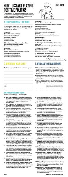 The first step in playing positive office politics is knowing how your colleagues view you. This painless worksheet will help you do that.