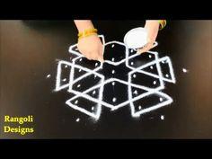 melikala muggulu designs with 5 to 3 dots | star dot pattern rangoli || sikku kolam designs - YouTube