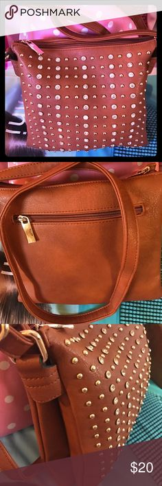 NWOT CROSSBODY BAG NEW BROWN CROSSBODY BAG. COVERED WITH GOLD STUDS AND GOLD BLING. PERFECT  Bags Crossbody Bags