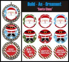 Build An Ornament Santa Claus Bottle Cap Images  by ArtBoxGraphics, $2.50