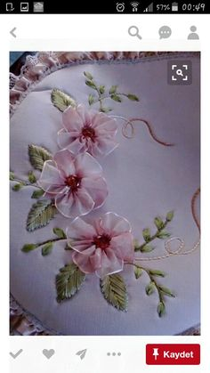 Wonderful Ribbon Embroidery Flowers by Hand Ideas. Enchanting Ribbon Embroidery Flowers by Hand Ideas. Ribbon Embroidery Tutorial, Hand Embroidery Stitches, Silk Ribbon Embroidery, Hand Embroidery Designs, Embroidery Kits, Ribbon Art, Ribbon Crafts, Ribbon Flower, Fabric Flowers
