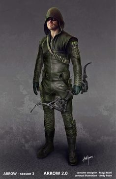 Arrow concept art by Andy Poon Check out Arrow concept art by Andy Poon ! The Green Arrow costume has been pretty much the . Arrow Cw, Arrow Oliver, Team Arrow, Green Arrow, Arrow Cosplay, Arrow Costume, Arrow Comic, Supergirl, Flash And Arrow