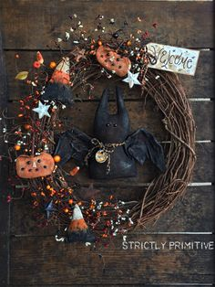 Primitiva corona Halloween corona guirnalda por StrictlyPrimitive