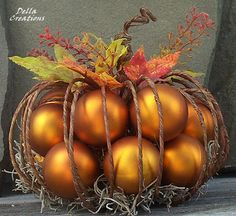 Rustic Wire Pumpkin Filled with Matte-Finish Burnt Dollar Tree Pumpkins, Dollar Tree Decor, Dollar Tree Crafts, Dollar Tree Fall, Thanksgiving Decorations, Halloween Decorations, Fall Decorations, Fall Halloween, Halloween Crafts