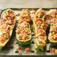 Zucchini Boats with Bacon Gremolata, mmmmm BACON!!