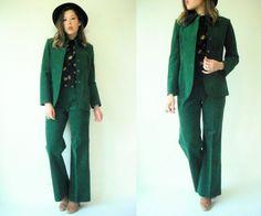 Vintage 70's BOHO Green Ultrasuede 2 pc Suit / High Waist Wide Leg Bell Bottoms and Blazer Set by viralthreads