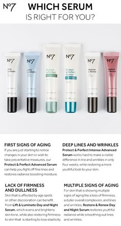 Choosing the ideal serum for your anti-aging concerns, clinically proven to work, will bring you your best skin ever. Use this skincare guide to see which serum is right for you — all available on @Target.com! No7 Protect & Prefect Advanced Serum: $24.99  No7 Protect & Perfect Intense Advanced Serum: $29.99  No7 Lift & Luminate Day & Night Serum: $26.99 No7 Restore & Renew Day & Night Serum: $26.99