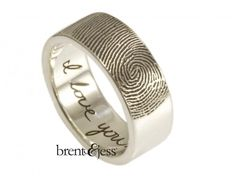 Wide Fingerprint Wedding Ring with Tip Print on the Outside and Your Handwriting on the Interior - Custom handmade fingerprint jewelry by Brent&Jess Unique Wedding Bands, Wedding Ring Designs, Unique Weddings, Wedding Rings, Wedding Ideas, Wedding Bells, Wedding Planning, Wedding Inspiration, Fingerprint Wedding
