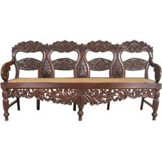 Indo-Portuguese Rosewood Caned Bench