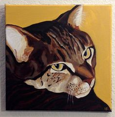 """Cat Painting, Custom Pet Portrait, Hand Painted in Acrylics ,12""""x12"""", From Photograph, Pet Lover Gift, Memorial Pet Portrait by PetPortraitsbyHolly on Etsy"""
