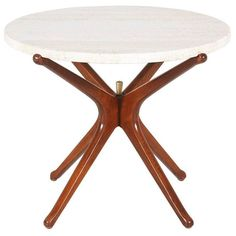 Mid-Century Sculpted Walnut Side Table with Marble Top 1