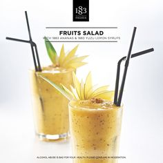 Fruits Salad cocktail with 1883 Pineapple and 1883 Yuzu syrups #healthy #Bartender #NoAlcohol #Detox