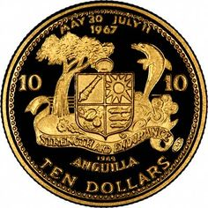 Anguilla first issued gold coins in 1969. The proof commemorative issues are all rare, beautifully struck and valuable.