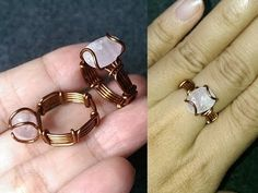 Simple ring with crystalline stone - How to make wire jewelery 257 - YouTube