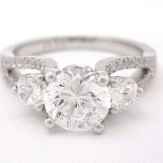 Round cut diamond engagement ring three stone 1.64ctw via Knrinc