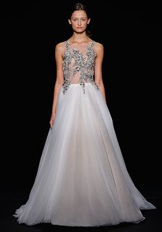 Wedding Dresses:   Illustration   Description   White illusion over pale nude illusion ballgown with platinum encrusted floral motiff applique bodice | Mark Zunino for Kleinfeld 161 | knot.ly/64908HCAY    -Read More –   - #WeddingDresses https://adlmag.net/2018/01/13/wedding-dresses-white-illusion-over-pale-nude-illusion-ballgown-with-platinum-encrusted-floral-m/