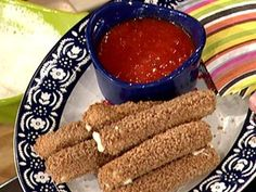 """faux fried"" cheese sticks from rocco's eat this book. I cut them in half to feel like you're eating more and cook for closer to 10 minutes. turned out awesome when I had people over. Yummy Healthy Snacks, Healthy Recipes For Weight Loss, Healthy Eating Recipes, Yummy Food, Simple Recipes, Delicious Recipes, No Calorie Foods, Low Calorie Recipes, Chef Recipes"