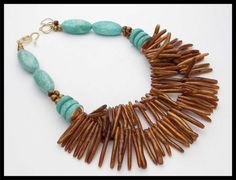 GOLD CORAL ELEGANCE - Fab Gold Coral and Amazonite 2 Strand Statement Necklace