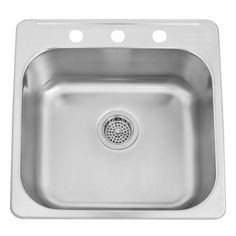 """$155  -- 20"""" Infinite Stainless Steel Drop-In Sink  Faucet Centers: 8"""" Number of Basins: 1 Product Color: Stainless Steel Length: 20"""" Width: 20-1/2"""" Height: 7"""" Basin Length: 18"""" Basin Width: 16-1/8"""" Water Depth to Rim: 7"""" Rim Thickness: 1"""""""