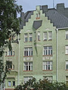 L'immeuble Aeolus, quartier de Katajanokka (Helsinki) Art Nouveau, photo Jean-Pierre Dalbéra