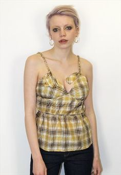 90s Vintage Designer Yellow Checked Strappy Festival Top Festival Tops, Festival Fashion, Vintage Designs, Tankini, Vintage Outfits, Camisole Top, Boutique, Tank Tops, Yellow