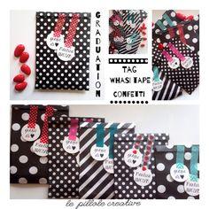 Bomboniere per laurea - sacchetti per confettata con washi tape e tag personalizzabili  lepillolecreative@gmail.com