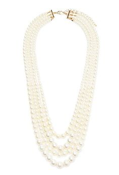 Layered Faux Pearl Necklace | Forever 21 - 1000120892