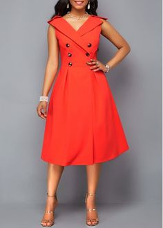 Double Breasted Sleeveless Orange Red Dress | Rosewe.com - USD $36.43