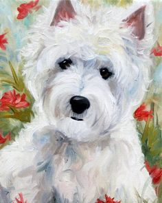 Mary Sparrow Smith from Hanging the Moon - Add a touch of spring with this westie dog art painting! portrait, home decor, gift ideas