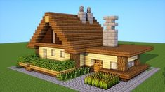 An easy to build small starter house, but still very practical. I'll show some interior design ideas, as well as a secret base. A full minecraft tutor. Minecraft Farmen, Minecraft Building Guide, Minecraft Cottage, Cute Minecraft Houses, Minecraft House Tutorials, Minecraft House Designs, Amazing Minecraft, Minecraft Construction, Minecraft Survival