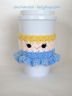 Free crochet cinderella coffee cup cozy pattern. Based on disney's princess cinderella. Free crochet download. Pdf pattern