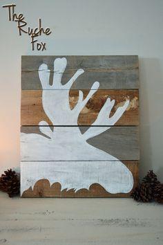 Moose Silhouette Painting on Reclaimed Wood