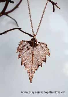 Real leaf Jewelry, B Real leaf Jewelry, Bright Copper / Rose Gold Birch leaf pendant necklace, Bridal, Wedding jewelry, Bridesmaid Gift, Live Love Leaf. $30.00, via Etsy.