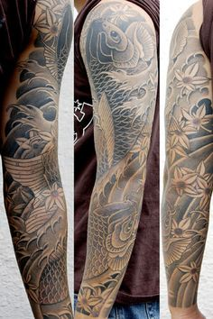 #Tattoo #Koi #Sleeve #tattoos inkt #japanese tattoo #koisleeve #black&white