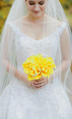 Yellow and Grey Wedding Ideas - Gorgeous Bouquet! orlandoweddingflowers/ www.weddingsbycarlyanes.com
